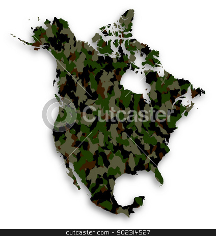 Map of North America filled with camouflage pattern stock photo, Map of North America filled with camouflage pattern, isolated by michaklootwijk