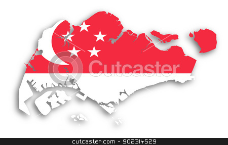 Map of Singapore filled with flag stock photo, Map of Singapore filled with flag, isolated by michaklootwijk