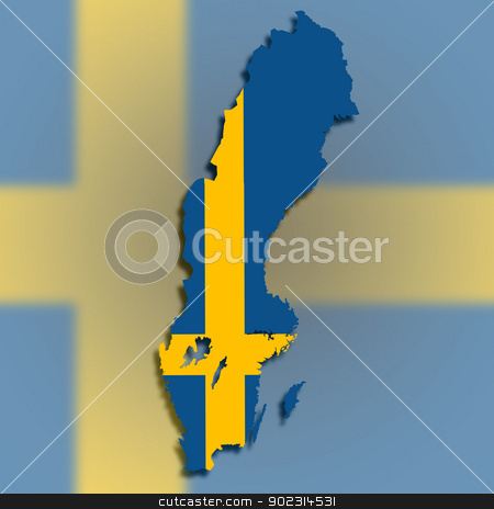 Map of Sweden filled with flag stock photo, Map of Sweden filled with flag, isolated by michaklootwijk
