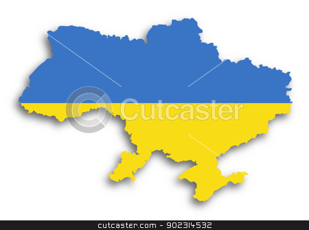 Map of the Ukraine filled with flag stock photo, Map of the Ukraine filled with flag, isolated by michaklootwijk