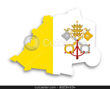 Map of Vatican City filled with flag stock photo, Map of Vatican City filled with flag, isolated by michaklootwijk