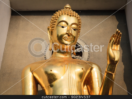 Gold Buddha image stock photo, Portrait of gold Buddha image in Thailand by pattarastock