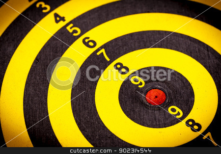 Dartboard background stock photo, Black and yellow dartboard use for background by pattarastock