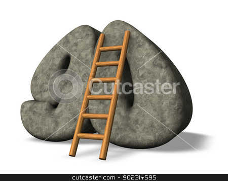 number ninety stock photo, ladder leans on stone number ninety - 3d illustration by J?
