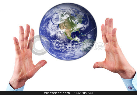 Hands and earth stock photo, Man hands reaching for earth globe isolated on white background.Conceptual design.Earth image provided by NASA Goddard Space Flight Center by borojoint