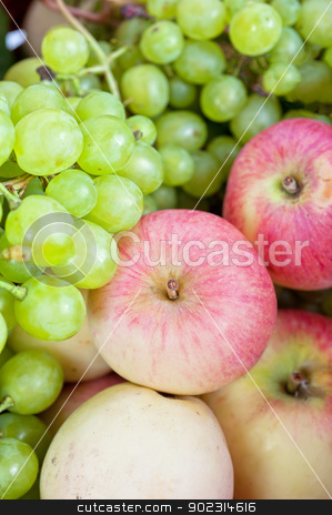apples and grapes stock photo, apples and grapes in a basket just harvest by olinchuk