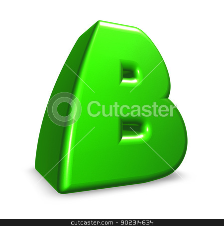 cartoon letter stock photo, green letter b on white background - 3d illustration by J?