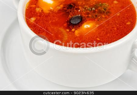 Solyanka soup stock photo, Closeup of solyanka soup at plate by olinchuk