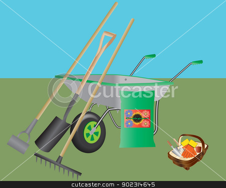 Gardening Tools stock vector clipart, A Wheelbarrow,Hoe,Spade,Rake,Compost and a Basket with Hand Tools and Gloves by d40xboy