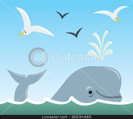 Whale and Seagulls stock vector clipart, A cartoon scene of a sufacing whale spouting water with seagulls flying above. by Jamie Slavy