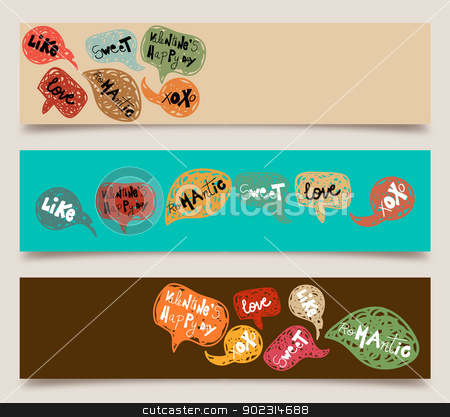 Valentine speech bubble banner set stock vector clipart, Happy valentines day hand-drawn speech bubble banner set. Vector illustration layered for easy manipulation and custom coloring. by Cienpies Design