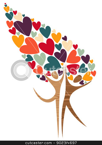 Diversity tree of love stock vector clipart, Expressive diversity tree of love isolated over white. Vector illustration layered for easy manipulation and custom coloring. by Cienpies Design