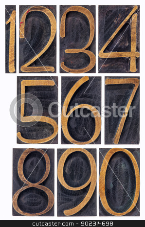 wood type numbers isolated stock photo, a set of isolated 10 numbers from zero to nine - vintage letterpress wood type by Marek Uliasz