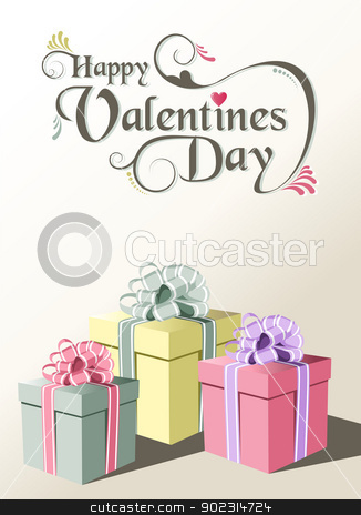 Valentine gift greeting card stock vector clipart, Valentine day gift greeting card background. Vector illustration layered for easy manipulation and custom coloring. by Cienpies Design
