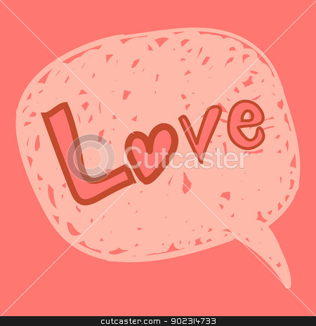 Love message in speech bubble stock vector clipart, Valentines love message in hand-drawn speech bubble. Vector illustration layered for easy manipulation and custom coloring. by Cienpies Design