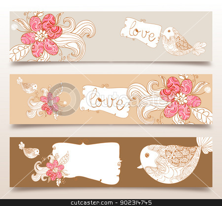 Valentine love birds and blossom banners stock vector clipart, Valentine day love birds and spring flowers banners set background. Vector illustration layered for easy manipulation and custom coloring. by Cienpies Design