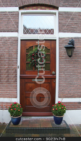 Christmas decorated home entrance stock photo, Entrace of a house, decorated for the holidays by Porto Sabbia