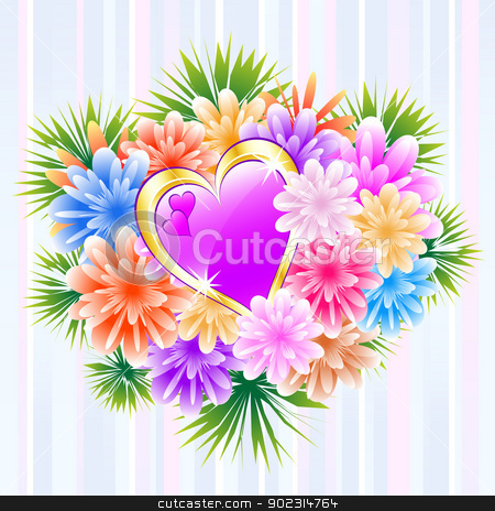 Flower Bouquet with Purple Love Heart stock vector clipart, Flower bouquet and purple love heart on a striped background. Ideal mother's day, valentine's day, wedding anniversary or birthday by toots77
