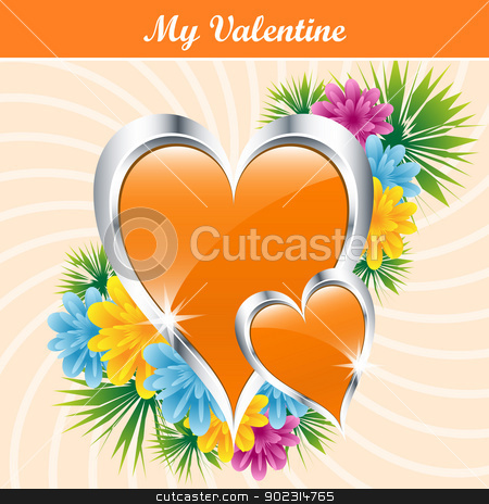 Orange love hearts and flowers stock vector clipart, Orange love hearts and flowers symbolizing valentines day, mothers day or wedding anniversary. Copy space for text. by toots77