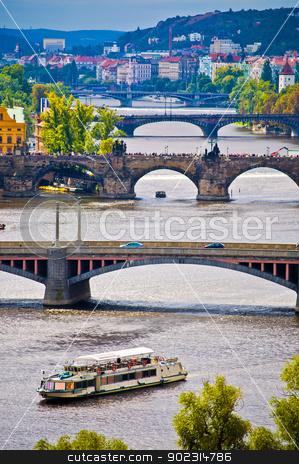 Bridges of Prague stock photo, aerial view of the old bridges of Prague by Juliane Jacobs
