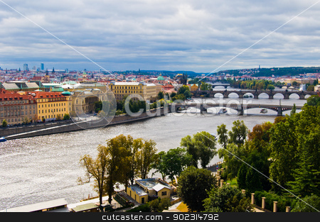 Bridges of Prague stock photo, aerial view of the old bridges of Prague by Juliane Jacobs
