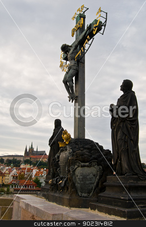 Statue at the Charles bridge stock photo, statue of Jesus on the cross at the Charles Bridge by Juliane Jacobs