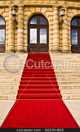 Red carpet stock photo, red carpet leading up the stairs by Juliane Jacobs