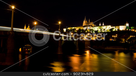 castle of Prague at night stock photo, old castle of Prague illuminated at night by Juliane Jacobs