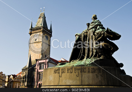 Old town square stock photo, old town square with the town hall of Prague by Juliane Jacobs