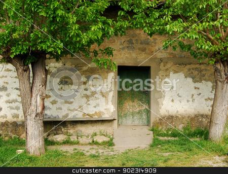 Old country house wooden back door, trees stock photo, Old country house wooden back door, trees by Aleksandar Varbenov