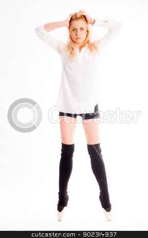 young beautiful dancer stock photo, beautiful caucasian tall woman ballet dancer full length on studio white background by Aikon