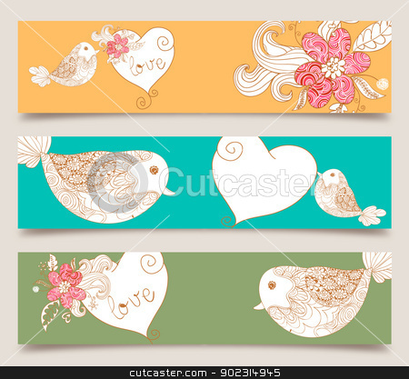 Valentine love birds and blossom banner set stock vector clipart, Lovely bird and spring flowers banners set background. Vector illustration layered for easy manipulation and custom coloring. by Cienpies Design