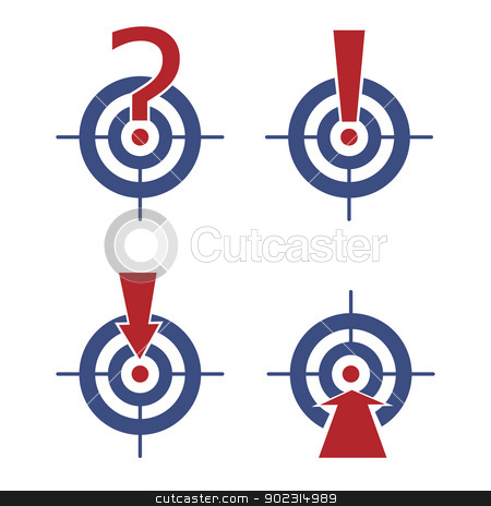 target with marks and arrows stock vector clipart, Target with question and exclamation marks and arrows. by antkevyv