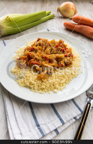 Cous cous stock photo, Cous cous dish with poultry meat and vegetables by Giordano Aita