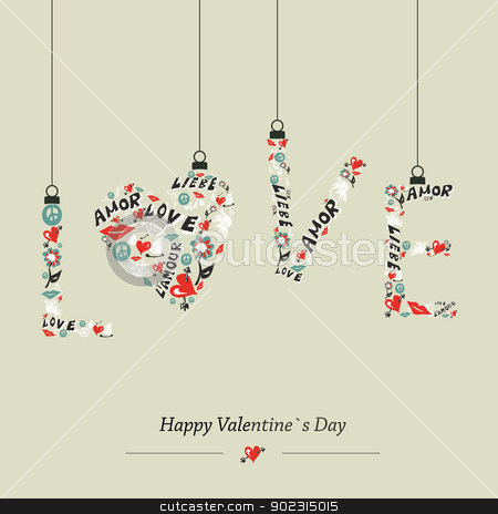 Love hanging word stock vector clipart, Valentine day Love hanging word composition greeting card. Vector illustration layered for easy manipulation and custom coloring. by Cienpies Design