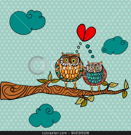 Wedding card lovely owls background stock vector clipart, Valentine day owl couple in love greeting card background. Vector illustration layered for easy manipulation and custom coloring. by Cienpies Design