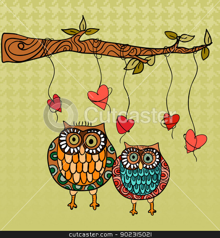 Owl love wedding card background stock vector clipart, Valentine day owls couple love greeting card. Vector illustration layered for easy manipulation and custom coloring. by Cienpies Design