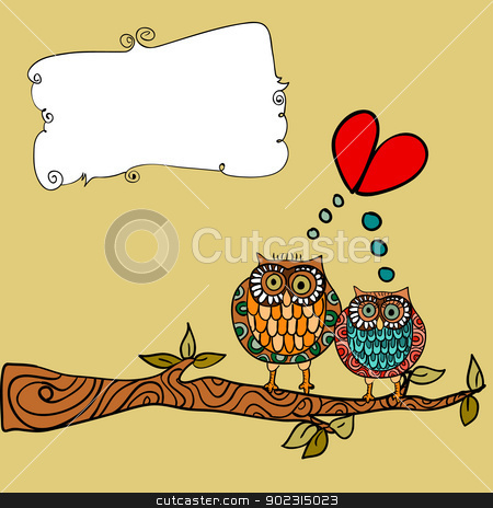 Owl love greeting card stock vector clipart, Valentine day lovely owls couple in tree branch greeting card background. Vector illustration layered for easy manipulation and custom coloring. by Cienpies Design