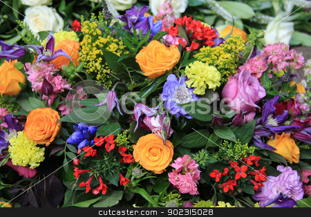 Mixed floral arrangement in bright colors stock photo, mixed floral arrangement in many bright colors by Porto Sabbia