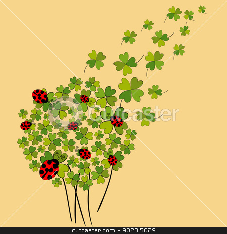 Lucky spring clover stock vector clipart, Clover and ladybugs spring background. Vector file layered for easy manipulation and custom coloring. by Cienpies Design