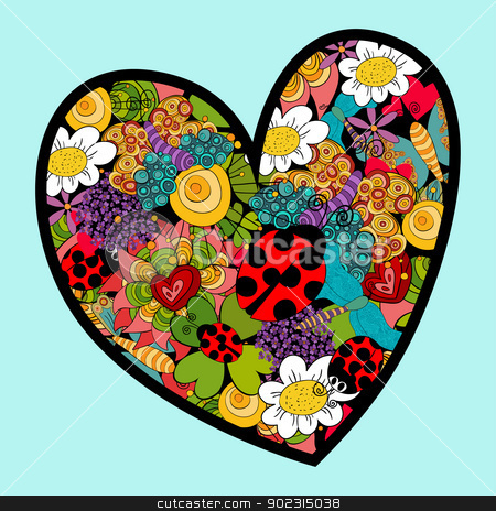 Vibrant spring heart love stock vector clipart, Multicolored heart love with spring elements: ladybug, flowers and butterfly. Vector file layered for easy manipulation and custom coloring. by Cienpies Design