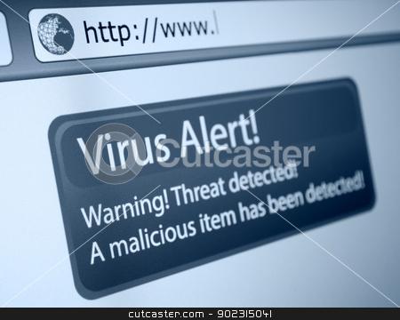 Virus Alert stock photo, Closeup of Virus Alert Sign in Internet Browser on LCD Screen by JAMDesign
