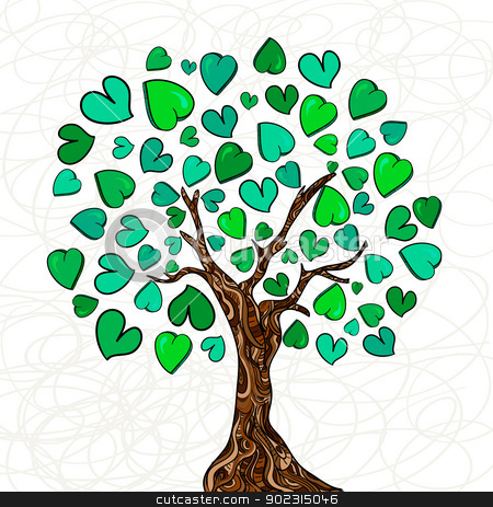 Love concept tree stock vector clipart, Valentine day hand-drawn love tree made of hearts background. Vector illustration layered for easy manipulation and custom coloring. by Cienpies Design