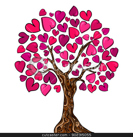 Love concept tree card stock vector clipart, Valentine day hand-drawn love tree made of hearts. Vector illustration layered for easy manipulation and custom coloring. by Cienpies Design