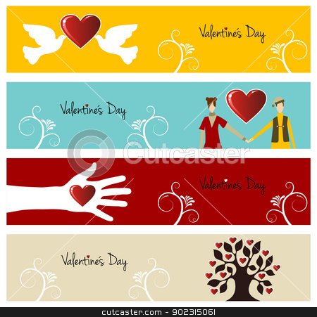 Valentine love banner set stock vector clipart, Valentine day greeting card banner set background. Vector illustration layered for easy manipulation and custom coloring. by Cienpies Design
