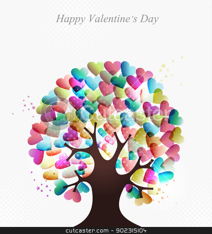 Love hearts concept tree stock vector clipart, Love transparent hearts concept tree for Valentines day. EPS10 illustration with transparencies layered for easy manipulation and custom coloring. by Cienpies Design