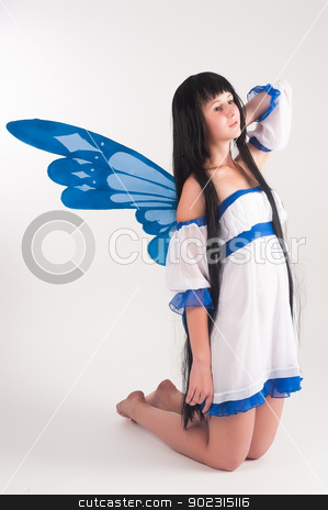pixie girl stock photo, Beautiful anime girl with long hair and wings. by Aikon
