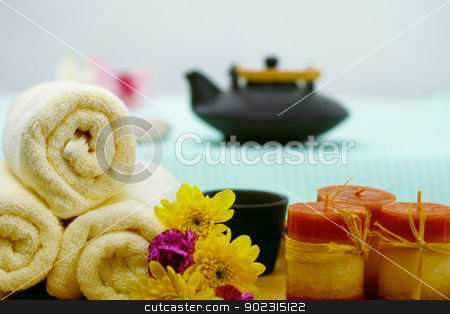 Spa composition - teapot, towels and candles stock photo, The composition of teapot, towels and candles - spa by Alexey Romanov