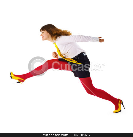 Business woman speeds up somewhere hurrying up stock photo, The business woman speeds up somewhere hurrying up isolated on white background by Alexey Romanov