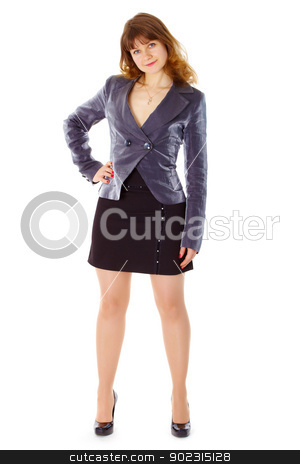 Businesswoman standing in stable posture on white stock photo, Young businesswoman standing in a stable posture isolated on white background by Alexey Romanov